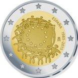 2€ commémorative commune des 30 ans du Drapeau Européen Espagne 2015