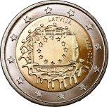 2€ commémorative commune des 30 ans du Drapeau Européen Lettonie 2015